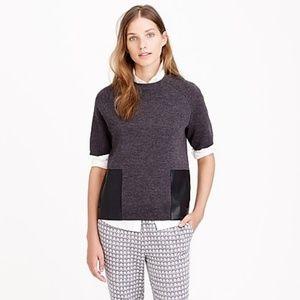 J. Crew Merino Wool Leather-Pocket T-Shirt Size M